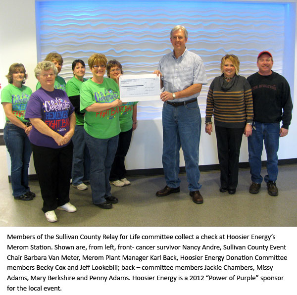 Members of the Sullivan County Relay for Life committee collect a check at Hoosier Energy's Merom Station.